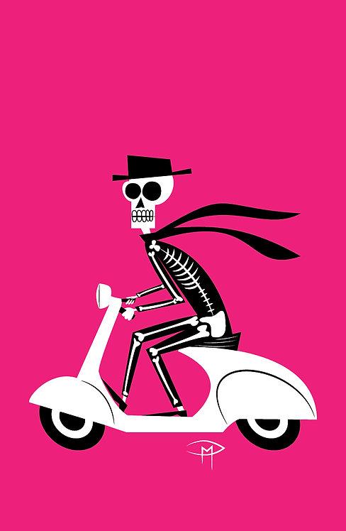 """""""Skele On A Vespa"""" 11""""x17"""" Poster"""