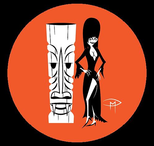 """Elvira Tiki Ghool 2.25"""" Button"""