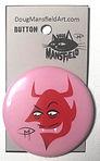 Devil Face 2.25%22 Button Pink Backgroun
