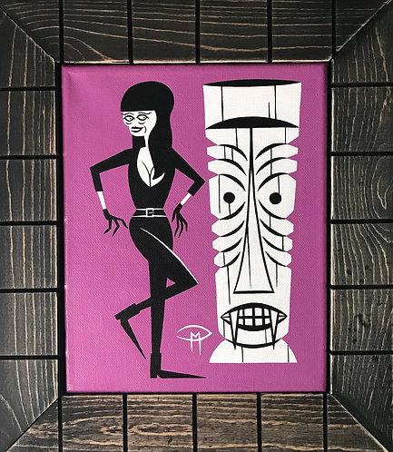 """Tura Satana Tiki Ghool 8"""" x10"""" Painting"""