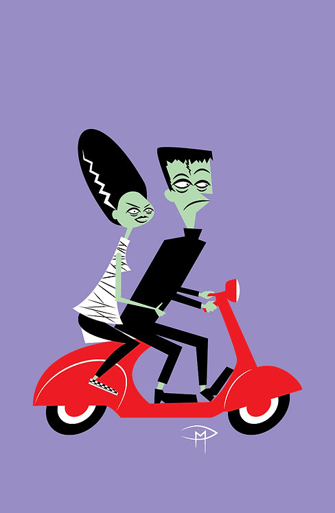 """Frankie And Bride On A Vespa 11""x17"" Poster"