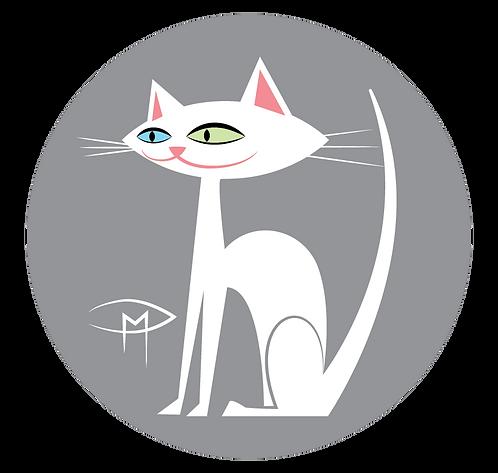 """White Kittie Gray Background 2.25"""" Button"""