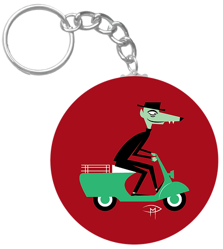 """Wolf On A Vespa"" Keychain"