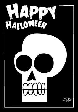 """""""Skull"""" 3.5""""x5"""" Halloween Card & Envelope"""