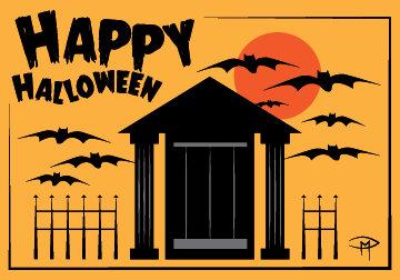 """""""Bats And Mausoleum"""" 3.5""""x5"""" Halloween Card & Envelope"""