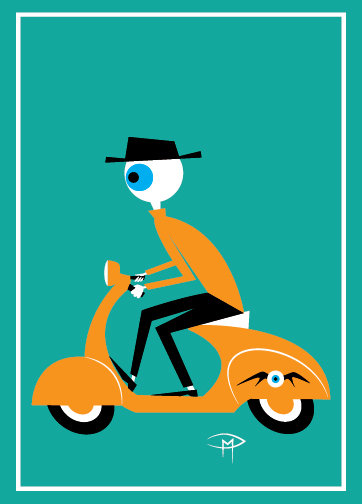"""Medulla On A Vespa"" Greeting Card 5""x7"""