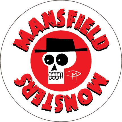 """""""Mansfield Monsters"""" Skele Mascot Red Button"""