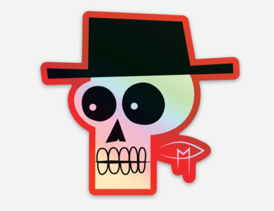 """""""Skull With Fedora"""" Die Cut Holographic Sticker"""