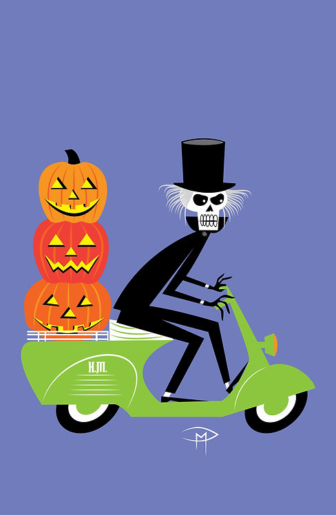 """""""Hatbox Ghost On A Vespa 11""""x17"""" Poster"""