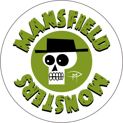 """""""Mansfield Monsters"""" Skele Mascot Green Button"""