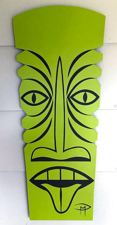 """""""Tiki Green"""" Acrylic Painting"""