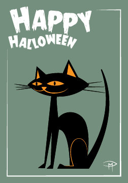 """Black Cat"" 3.5""x5"" Halloween Card & Envelope"