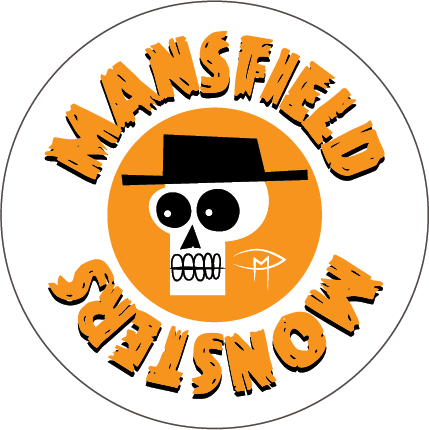 """Mansfield Monsters"" Skele Mascot Orange Button"