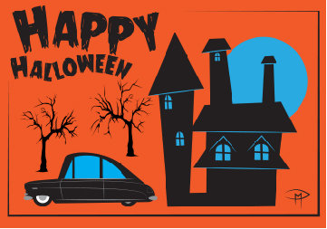 """""""House And Car"""" 3.5""""x5"""" Halloween Card & Envelope"""