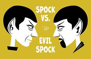 Spock Vs Evil Spock Face Gold Poster.jpg