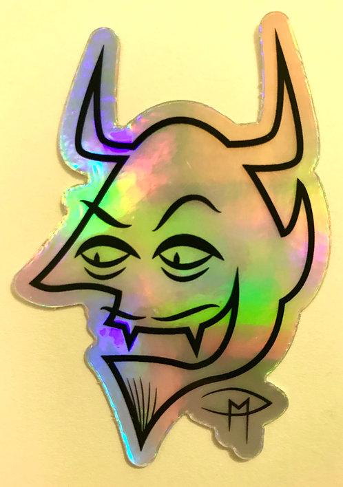 """Devil Face"" Die Cut Holographic Sticker"