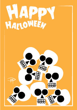 """Pile of Skulls"" 3.5""x5"" Halloween Card & Envelope"