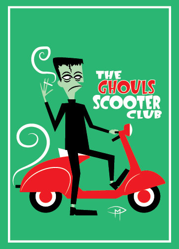 """""""Ghouls Scooter Club"""" Greeting Card 5""""x7"""""""