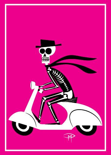 """Skele On A Vespa"" Greeting Card 5""x7"""
