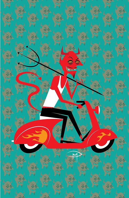 """""""Devil On A Vespa Pattern 11""""x17"""" Poster"""