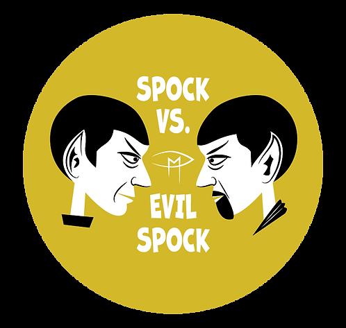 """""""Spock Vs Evil Spock"""" Gold 2.25"""" Round Button"""