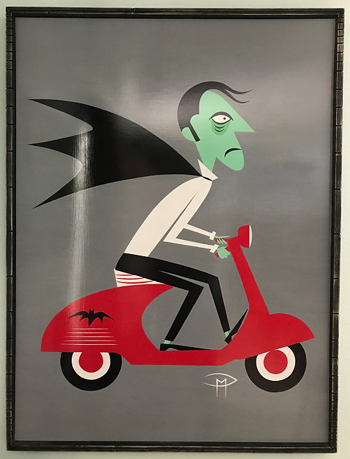 """""""The Count On A Vespa"""" Original Painting"""