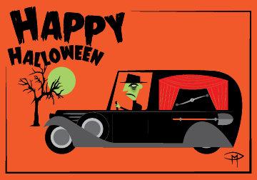 """Halloween Hearse"" 3.5""x5"" Halloween Card & Envelope"