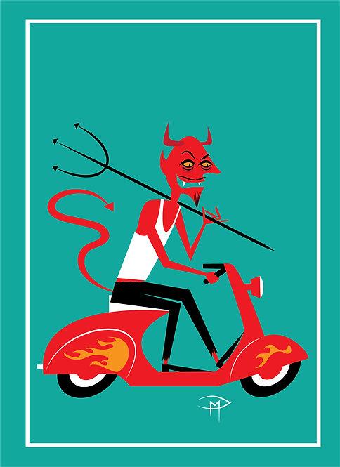 """""""Devil On A Vespa"""" Greeting Card 5""""x7"""""""