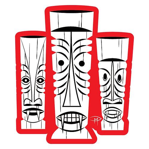 """""""Three Tiki's"""" Die Cut Sticker"""