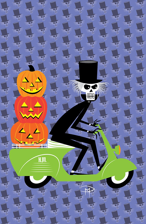 """Hatbox Ghost On A Vespa Pattern 11""x17"" Poster"