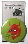 Devil Face 2.25%22 Button Green Backgrou