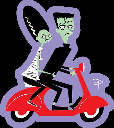 """Frankie & Bride On A Vespa"" Die Cut Sticker"