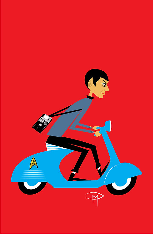 """Spock On A Vespa"" 11""x17"" Poster"