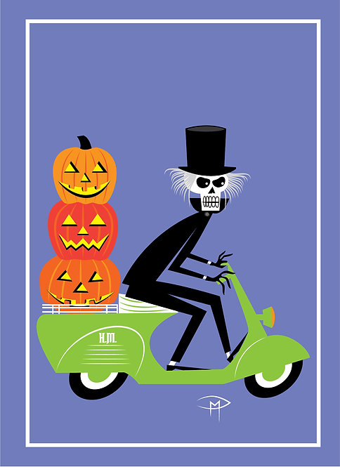 """Hatbox Ghost On A Vespa"" Greeting Card 5""x7"""