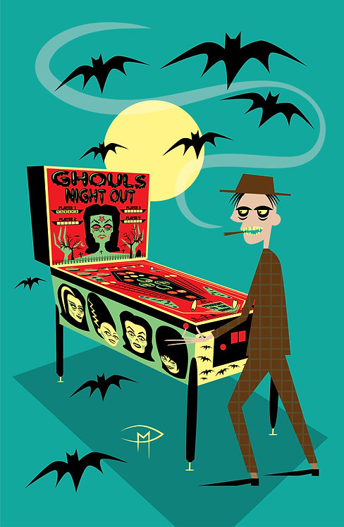 """""""Ghouls Night Out Pinball Player"""" 11""""x17"""" Poster"""