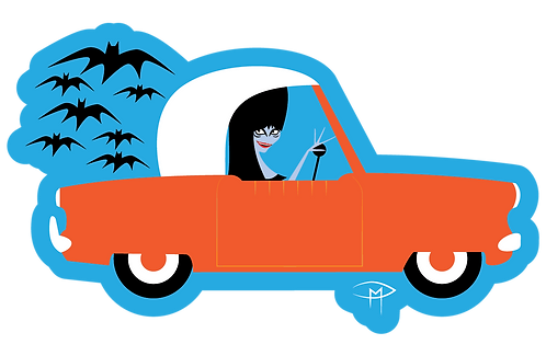 Elvira In A Met Die Cut Sticker