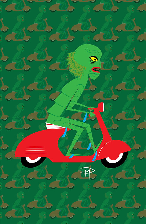 "The Creature On A Vespa With Pattern 11""x17"" Poster"