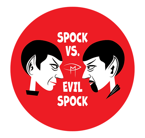 """Spock Vs Evil Spock"" Red 2.25"" Round Button"