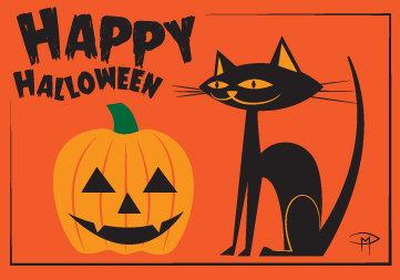 """""""Pumpkin And Cat"""" 3.5""""x5"""" Halloween Card & Envelope"""