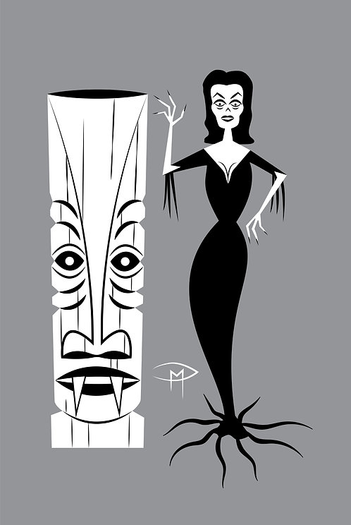"Vampira Tiki Printed Canvas 36"" x 24"""
