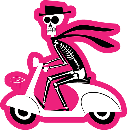 """Skele On A Vespa"" Magnet"