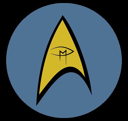 """""""Star Trek Inspired Visual Artist Emblem Blue 2"""" Round Sticker"""