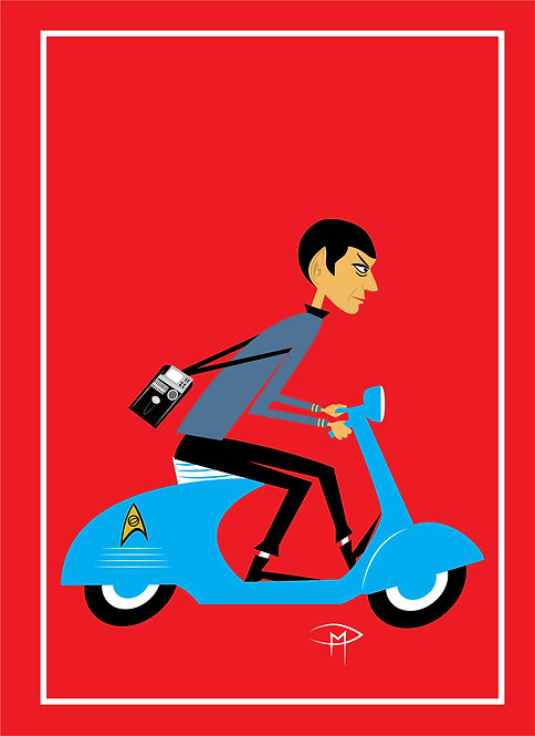 """Spock On A Vespa"" Greeting Card 5""x7"""