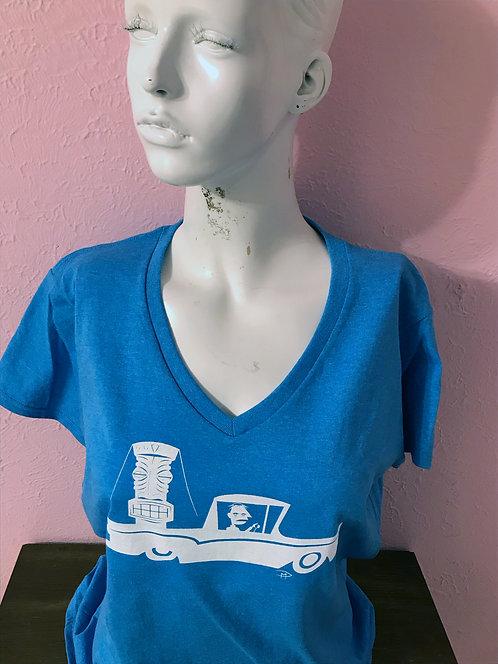 """""""Ranchero Requisition"""" Bright Blue Tri-Blend V-Neck Girlie Shirt Large"""
