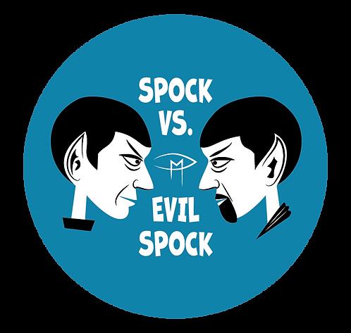 """""""Spock Vs Evil Spock"""" Blue 2.25"""" Round Button"""