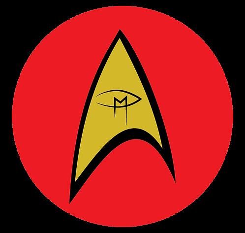 """""""Star Trek Inspired Visual Artist Emblem Red 2"""" Round Sticker"""