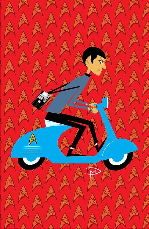 """""""Spock On A Vespa Pattern"""" 11""""x17"""" Poster"""