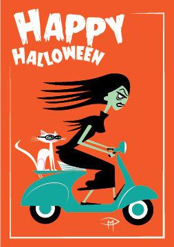 """Vampira On A Vespa Halloween"" 3.5""x5"" Halloween Card & Envelope"