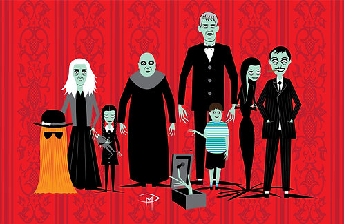 """Addams Family Portrait Wallpaper"" 11""x17"" Poster"