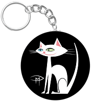 White Kittie Black Background Keychain-0
